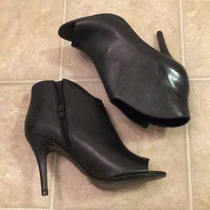 Nine West Peep Toe Black Leather Booties